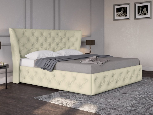 Кожаная кровать Life 5 Box с подъемным механизмом крем