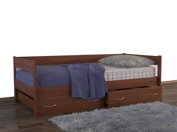 Детская кровать Тахта с  ящиками каштан