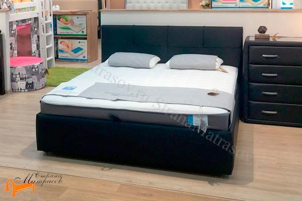 Кровать Life 1 Box Райтон фото кожа темно-синяя