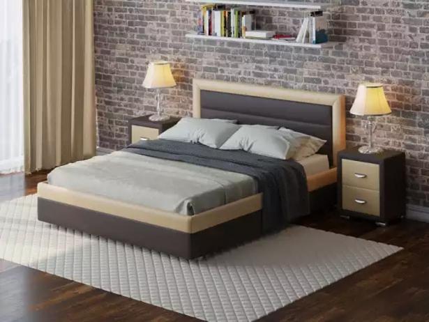 Кожаная кровать Life 2 Box  с подъемным механизмом венге-бежевый