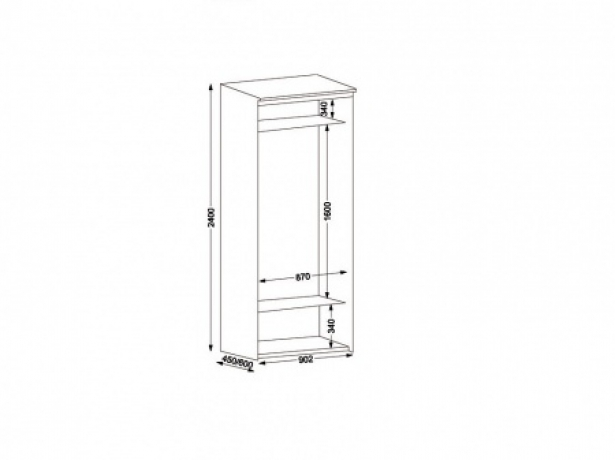 Шкаф купе 2-х дверный Эконом ширина 90 см